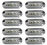10x 24V marcador lateral frente esquema LED blanco luces transparente lentes con bisel cromado Para Camión LKW caravana remolque chasis hombre