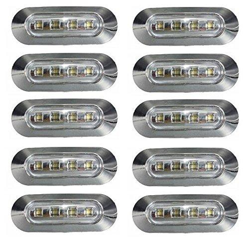 clasificación y comparación 10 x 24 V marcado lateral Contorno frontal Luz LED blanca Lente transparente con marco cromado… para casa