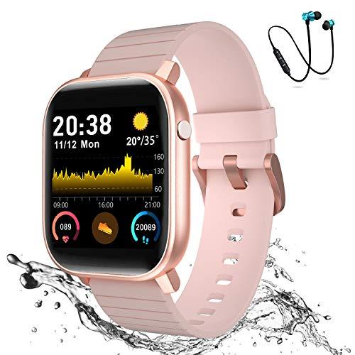 Smartwatch Offerta Del Giorno 1.4',Cuffie Bluetooth Sport Offerte, Smartwatch per Donna Uomo Impermeabile IP68 Fitness Tracker attività con Cardiofrequenzimetro Pedometro per Android iOS(Rosa)