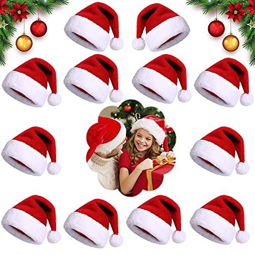 Shengruili 12PCS Cappellino Babbo,Cappello Babbo Natale Peluche,Cappello di Babbo Natale,Morbido Cappello di Natale in Peluche,Cappello di Natale per Adulti,Cappello di Babbo Natale (I)