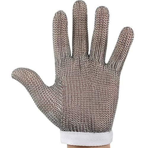 Schnittfeste Handschuhe-XHZ 1 Stück 304 Edelstahl-Drahthandschuhe zum Schlachten, Metallschneiden, Fünf-Finger-Stahlring-Schnittschnitt-Handschuhe (Size : Medium)