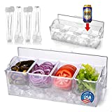 Pikanty Condiment Server Caddy on Ice with Hinged Lid (4 Serving Tongs and Tray for Drinks included) Made in USA