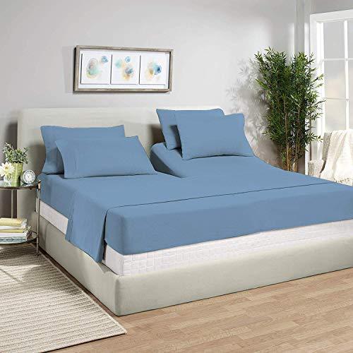 Top Split King Sheets Sets for Adjustable beds, Half Split King Sheet Sets for Adjustable beds 18  deep Pocket, 39  Split Top Sheets 1000 TC 100% Cotton (Half Split Fitted) Mediterranean Blue