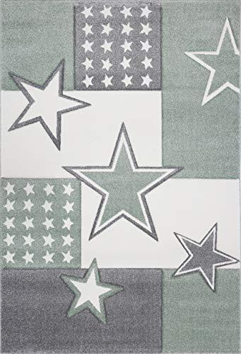Livone Tapis Doux pour Enfant Motif étoile Vert/Gris Anthracite Blanc, Gris, 160 x 220 cm
