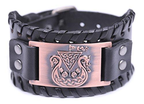 VASSAGO Pulsera de piel estilo amuleto para hombre y mujer, diseño de barco irlandés, estilo nordico vikingo