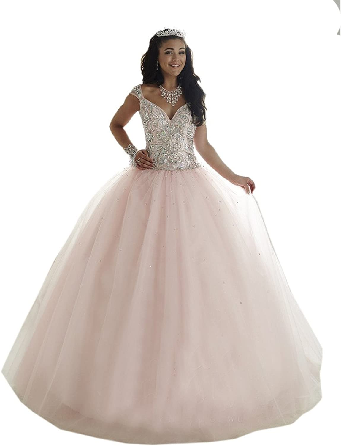 HSDJ Women's Beaded Tulle Ball Gowns Prom Sweet 16 Long Quinceanera Dresses