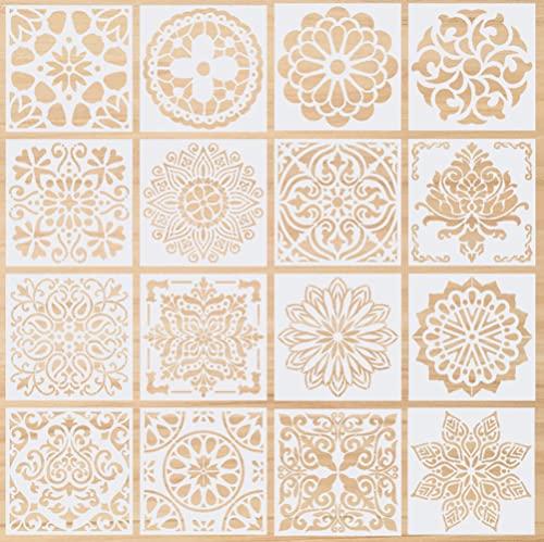 Plantillas de Mandala, 16 Piezas Plantillas de Dibujo, Mandala Manualidades Painting Stencils, Reutilizables,para Pintar Scrapbook Arte De Pared(Blanco 15x15cm)