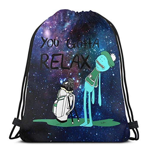 Mr. Meeseeks Quote T-Shirt-You Gotta Relax-White Drawstring Bag Sport Gym Sack Shopping Travel Folding Shoulder Backpack Pattern