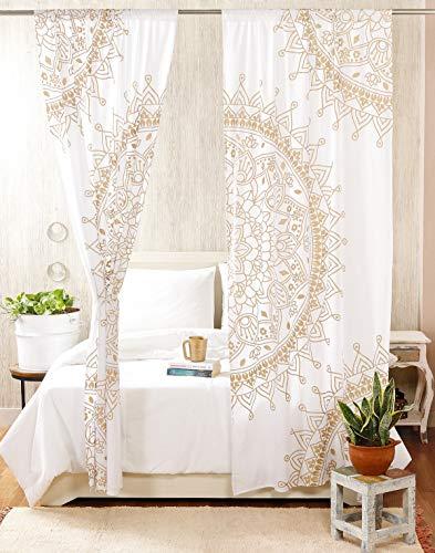 "Madhu International Mandala Gypsy Window Treatments 2 Panel Set Bohemian Curtain Room Divider Blackout Balcony Sheer Wall Hanging Tapestry Curtain Indian Drapes Curtain, 87"" x41, White Gold"