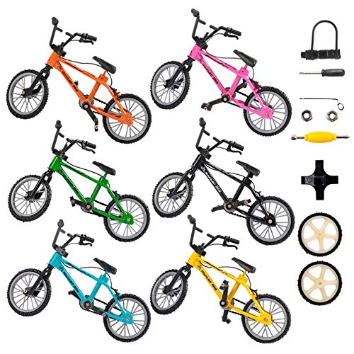 HEHALIs Finger Bikes 6Pcs 6Colors Mini Bikes, Double-bar Bike with Brake Rope and Bicycle Accessories Finger Mountain Bikes, Toy Set as a Gift for for Kids 6-12 Year Old and Party Favors