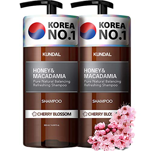 KUNDAL Natural Hair Shampoo, Cherry Blossom, 2 bottles X 16.9 oz, Sulfate Free Paraben Free with argan oil
