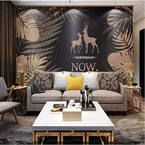 3D vliesbehang foto vlies premium fotobehang elandachtergrond behang wandschilderij tropische installatie 3D 400*280cm #005