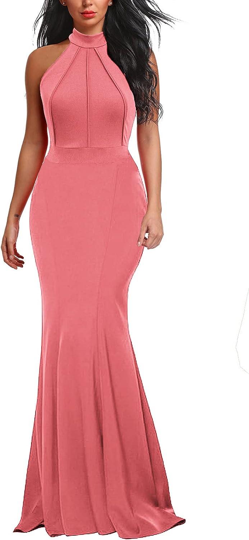 Berydress Women's Elegant Chic Halter Neck Sleeveless Solid Stretchy Wedding Guest Mermaid Long Evening Dress