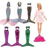 Miunana 4 Set Random Bikini Meerjungfrau Kleidung Kleider Regenbogen Mermaid + 1 Mantel + 1 Fisch Schwanz für 11,5 Zoll Mädchen Puppen -