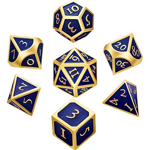 DILISEN Juego de Dados de Metal de 7 Piezas Dados Poliédricos de Metal D&D Sólidos con Bolsa de Almacenaje y Aleación de Zinc con Esmalte (Dorado Azul Real)(Dorado Azul