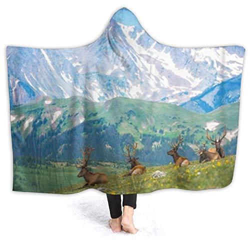 KIMDFACE Tragbare Hoodie Decke,Nordamerikanische Elche Rocky Mountain Meadow in...
