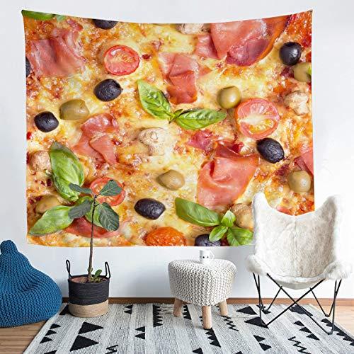 Tapiz para pizza, diseño de pizza, ideal para colgar en la pared, para niños y niñas, elegante gigante, pizza, burrito, para pared, lujoso, para dormitorio, sala de estar, extragrande, 152 x 238 cm