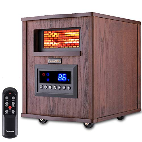 FLAMEMORE Electric Infrared Portable Space Heater with Remote Control 12H Timer Thermostat Overheat&Tip-over Protection Eco Mode Child Safety Lock for Indoor Use Home Large Room Bedroom Wood Cabinet