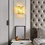 LOKKRG Lámpara de Pared de Cristal Moderna, Pared LED Dorada, Dormitorio, iluminación de cabecera, escaleras, Pasillo, Pasillo, Hotel, lámpara de Pared E14, lámparas de Pared Transparentes