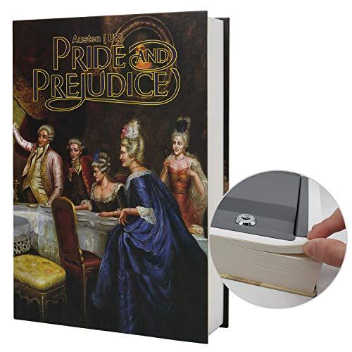 Caja de almacenamiento de papel real para libros de diversión, caja fuerte de diccionario secreta con cerradura de código/llave, libro de seguridad oculto (llave M, orgullo y prejuicio)