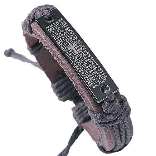 VANKER Croix Anglais Écriture Corde en Cuir Alliage Bracelet à Breloques Cool Bijoux Marron