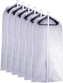 Garment Bag Clear Plastic Breathable Moth Proof Garment Bags Cover for Clothes Storage Suits Dress Dance Zippered Breathable Pack of 6 ( 24''X40'' )