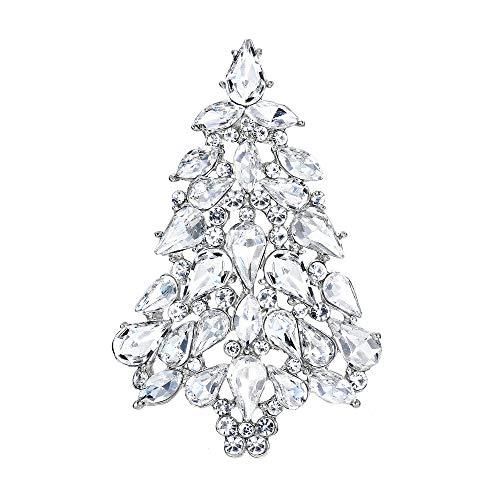 EVER FAITH Party Christmas Tree Teardrop Clear Austrian Crystal Brooch Pin Silver-Tone