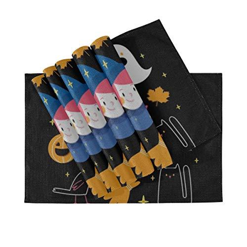 DUKAI Tischsets 6er Set, wärmeisolierende waschbare Tischsets, Halloween Illustrationen Set Hexenbesen Katze 18 x 12 Zoll Küchentischmatten Tischset für Esstisch