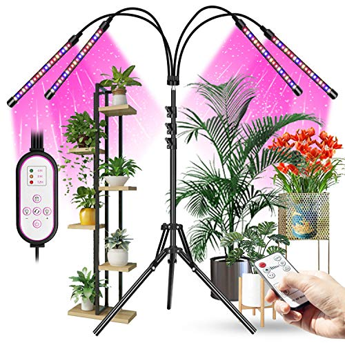 Grow Lights with Stand, Aokrean 80 LED Floor LED Grow Light with Stand Tripod Adjustable, Sunlike Full Spectrum Plant Light for Indoor Tall & Large Plants, 4/8/12H Timer, 10 Dimmable Levels