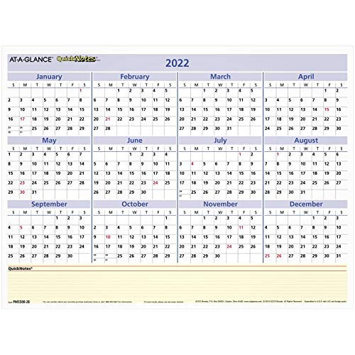 2022 Erasable Calendar, Dry Erase Wall Planner by AT-A-GLANCE, 16' x 12', Small, Reversible, Monthly/Yearly, QuickNotes (PM550B28)