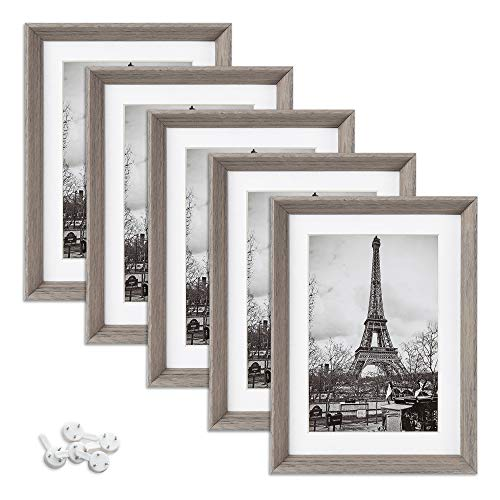upsimples 5x7 Picture Frames with High Definition Glass,Rustic Photo Frames for Wall or Tabletop Display,Set of 5,Light Grey