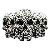 eeddoo® Gürtelschnalle - Triple Skull (Buckle für Wechselgürtel für Damen und Herren   Belt Frauen Männer Oldschool Rockabilly Metall Gothic Wave Rock Biker Western Trucker Casino Skull)