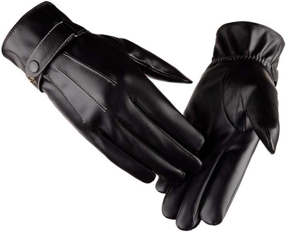 HUBINGRONG PU Unisex Winter Gloves Women Men Touched Mittens Autumn Winter Couple Drving Gloves (Color : Black, Size : OneSize)