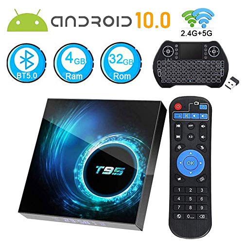 EASYTONE Android 10.0 TV Box 4GB Ram 32GB ROM,T95 Android TV Box Quad-Core 64Bits Support Dual Wi-Fi 2.4G+5G BT 5.0 4K6K Ultra HD H.265 Smart Boxes with Mini Wireless Keyboard & Remote Control