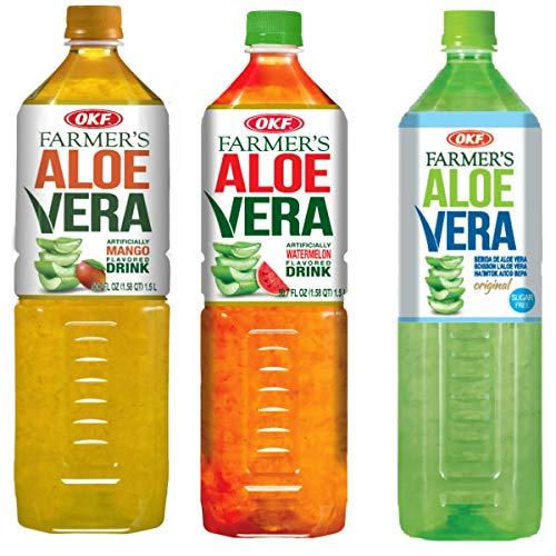 OKF Farmer's Aloe Vera Drink, Mango, Watermelon & Sugar Free, 50.7 Fluid Ounce (Pack of 12 each)