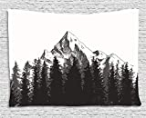 Ambesonne Primitive Tapestry, Mountain with Fir Forest and Arrow Folk Style Retro Print, Wide Wall Hanging for Bedroom Living Room Dorm, 80' X 60', Dimgrey White