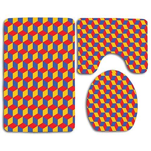 Conjuntos de alfombrillas de baño Alfombrilla de contorno geométrica Bauhaus con diseño de vector Cubierta de tapa de inodoro en forma de U, antideslizante, lavable a máquina, juego de alfombras de 3