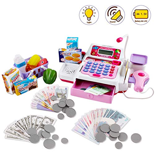 deAO Roze Supermarkt Winkel Speelgoed Kassa, Scanner, Creditcard, Voedsel, Mandje Geld en Kruidenierswaren