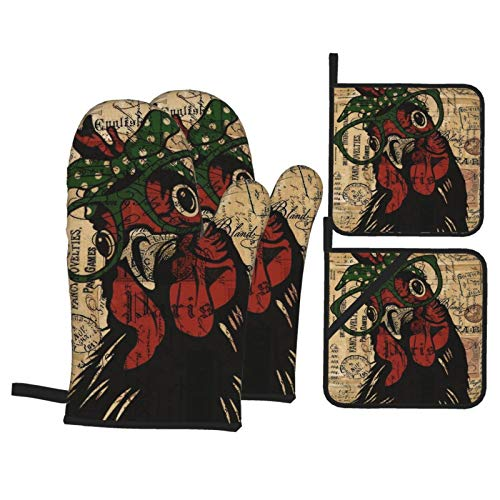 Pnnud Vintage Rooster Oven Mitts and Pot Holders Set of 4Cotton Lining with Non-Slip Hot PadsHeat Resistant Microwave Gloves for Cooking Baking Grilling BBQ Decorative Kitchen