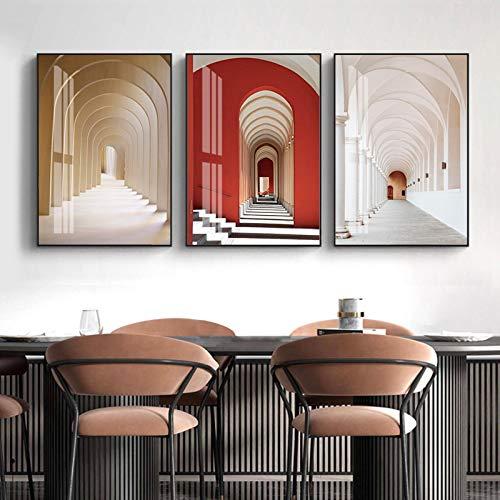 3 piezas de arcos circulares de Marruecos, pasillos,lienzo deiglesia,pintura, arte de pared, carteles impresos, imágenes, decoración del hogar (30x60 cm) Sin marco