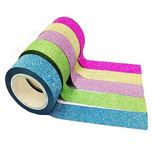 Gespout 10 Set Pailletten Einfarbig Tape Dekoration für Album Notizbuch Geschenke Verpackung DIY Handwerk Bunt Zufällige Farbe