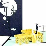 Pop Up Grußkarte'Angeln - Angelausflug' - 3D Angelkarte als Geburtstagskarte, Karte zum Ruhestand,...