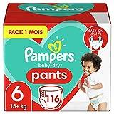 Pampers Couches-Culottes Baby-Dry Pants Taille 6 (+15kg) Maintien 360° pour Éviter les Fuites, Faciles à Changer, 116 Couches-Culottes (Pack 1 Mois)