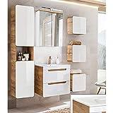 Lomadox - Juego Completo de Muebles de baño, Color Blanco Brillante con Roble de wotan, Lavabo de cerámica de 60 cm,...