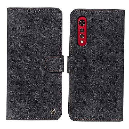 WANTONG Cubierta de la Caja del tirón del teléfono para LG Velvet 2 Pro Flip Wallet Funda Kickstand Tarjeta Slots Cierre magnético Caja Protectora a Prueba de Golpes (Color : Black)