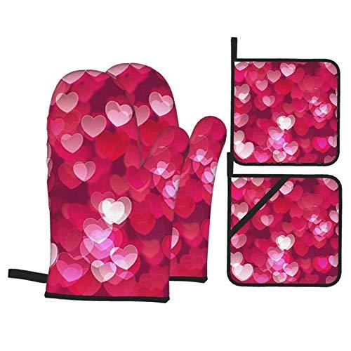 MZZhuBao - Set di guanti da forno e presine per San Valentino, resistenti al calore, per cottura al forno a microonde, per cottura e barbecue