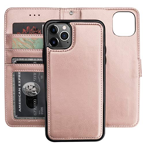 Bocasal iPhone 11 Pro Max Wallet Case with Card Holder PU Leather Magnetic Detachable Kickstand Shockproof Wrist Strap Removable Flip Cover for iPhone 11 Pro Max 6.5 inch (Rose Gold)
