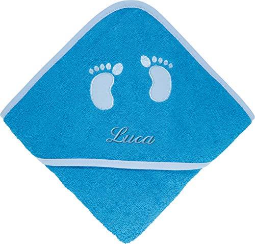 Erwin Müller Frottier Kinder-Kapuzenbadetuch mit Name - Kapuzenhandtuch inklusive Bestickung - Badetuch für Baby - Fußabdruck - 100% Baumwolle - blau - Größe 80x80 cm