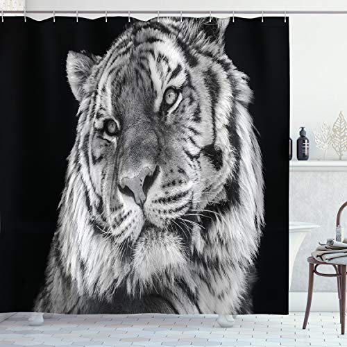 ABAKUHAUS Tiger Duschvorhang, Intensiver Blick auf den Jäger, mit 12 Ringe Set Wasserdicht Stielvoll Modern Farbfest & Schimmel Resistent, 175x240 cm, Hellgrau Schwarz