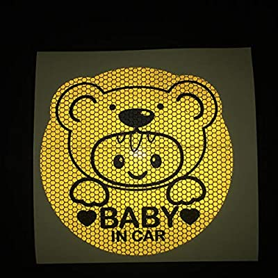 HungMieh Baby on Board Stickers for Car,Baby in Car Safety Car Signs, Baby on Board Decals for Cars Mailbox Windows Baby Car, Highly Reflective Gold